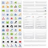 Conjunto de elementos blanco del diseño de Web Fotos de archivo