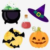 Conjunto de elementos Caldera de la bruja, sombrero, luna, palos, calabaza del veneno Imagen de archivo libre de regalías
