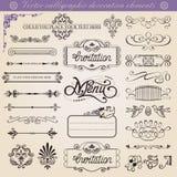 Conjunto de elementos caligráfico de la decoración del vector Imagen de archivo libre de regalías