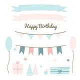 Conjunto de elementos de la fiesta de cumpleaños Fotos de archivo libres de regalías