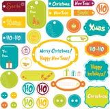Conjunto de elementos de la Navidad Fotos de archivo