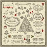 Conjunto de elementos de la Navidad Fotografía de archivo