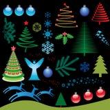 Conjunto de elementos de la Navidad Foto de archivo
