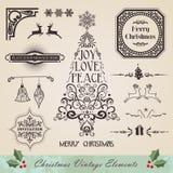 Conjunto de elementos de la Navidad del vintage Fotos de archivo