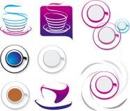 Conjunto de elementos de la taza del coffe Fotografía de archivo libre de regalías