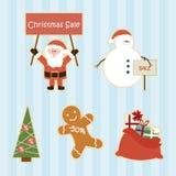 Conjunto de elementos de la venta de la Navidad de la historieta Foto de archivo