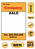 Conjunto de elementos de la venta - vector Foto de archivo