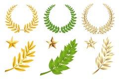 Conjunto de elementos de oro y verde Foto de archivo libre de regalías