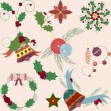 Conjunto de elementos decorativos de la Navidad Fotos de archivo
