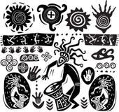 Conjunto de elementos del arte primitivo ilustración del vector