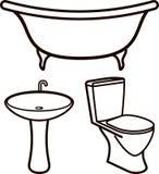 Conjunto de elementos del cuarto de baño stock de ilustración