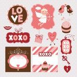 Conjunto de elementos del día de tarjetas del día de San Valentín stock de ilustración