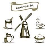 Conjunto de elementos del diseño de la agricultura Imagen de archivo