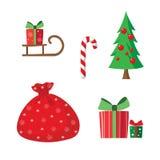 Conjunto de elementos del diseño de la Navidad Foto de archivo