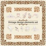 Conjunto de elementos del diseño de la vendimia Foto de archivo libre de regalías