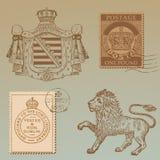 Conjunto de elementos del diseño de los derechos de la vendimia Foto de archivo libre de regalías