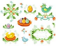 Conjunto de elementos del diseño de Pascua Foto de archivo