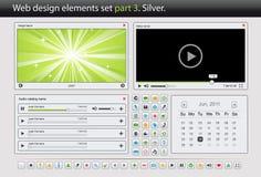 Conjunto de elementos del diseño de Web. Plata de la parte 3. Foto de archivo libre de regalías