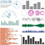 Conjunto de elementos del diseño - equalizadores y escalas Fotografía de archivo