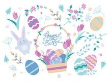 Conjunto de elementos del diseño de Pascua Huevos, conejo, tulipanes, flores, verba, ramas, cesta stock de ilustración