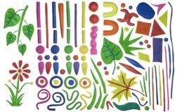 Conjunto de elementos del diseño simple del plasticine Imagen de archivo