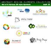 Conjunto de elementos del diseño 3D Fotografía de archivo