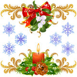 Conjunto de elementos del diseño de la Navidad 3 Imagenes de archivo