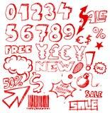 Conjunto de elementos del eshop/del anuncio del doodle Fotografía de archivo