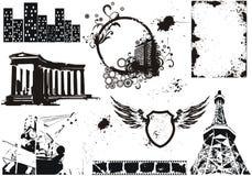 Conjunto de elementos del grunge del vector Fotografía de archivo libre de regalías