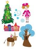 Conjunto de elementos del invierno Fotografía de archivo libre de regalías