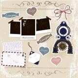 Conjunto de elementos del libro de recuerdos. Imagen de archivo