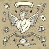 Conjunto de elementos del tatuaje de la escuela vieja Imagenes de archivo