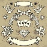 Conjunto de elementos del tatuaje de la escuela vieja Imágenes de archivo libres de regalías