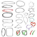 Conjunto de elementos drenado mano del diseño Stock de ilustración