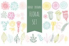 Conjunto de elementos florales Imágenes de archivo libres de regalías