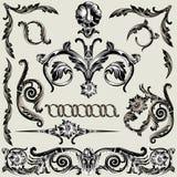 Conjunto de elementos florales clásicos de la decoración Foto de archivo libre de regalías