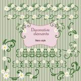 Conjunto de elementos florales decorativos Imagen de archivo libre de regalías