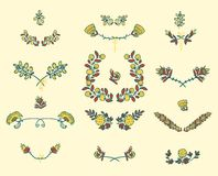 Conjunto de elementos florales del diseño gráfico Foto de archivo