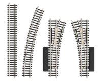Conjunto de elementos miniatura de la pista de ferrocarril stock de ilustración