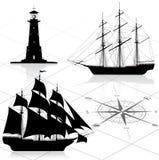 Conjunto de elementos náuticos del diseño ilustración del vector