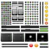 Conjunto de elementos negro del diseño de Web. Foto de archivo libre de regalías