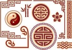 Conjunto de elementos orientales chinos del diseño Fotos de archivo