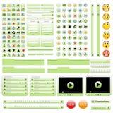Conjunto de elementos verde del diseño de Web. Foto de archivo libre de regalías
