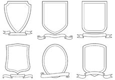 Conjunto de emblemas, de crestas, de blindajes y de desfiles del vector Fotografía de archivo