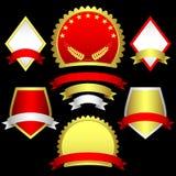 Conjunto de emblemas y de banderas. Fotos de archivo libres de regalías