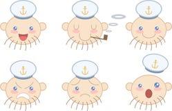 Conjunto de emociones de la cara del marinero de la historieta Fotos de archivo