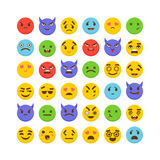 Conjunto de emoticons Kawaii Iconos lindos del emoji Diseño plano Fotos de archivo libres de regalías