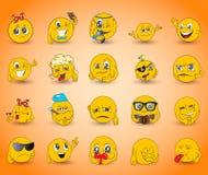 Conjunto de emoticons Sistema de Emoji Iconos de la sonrisa Imagen de archivo