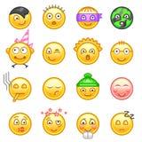 Conjunto de emoticons Sistema de Emoji Ilustración del vector en el fondo blanco ilustración del vector