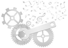 Conjunto de engranajes y de la llave con las notas de la música ilustración del vector